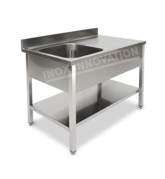 Lavello aperto una vasca con sgocciolatoio e sottopiano
