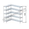 Scaffale angolo sinistro 1 + 1 moduli 5 ripiani – H 1430