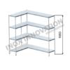 Scaffale angolo sinistro 1 + 1 moduli 4 ripiani – H 1850