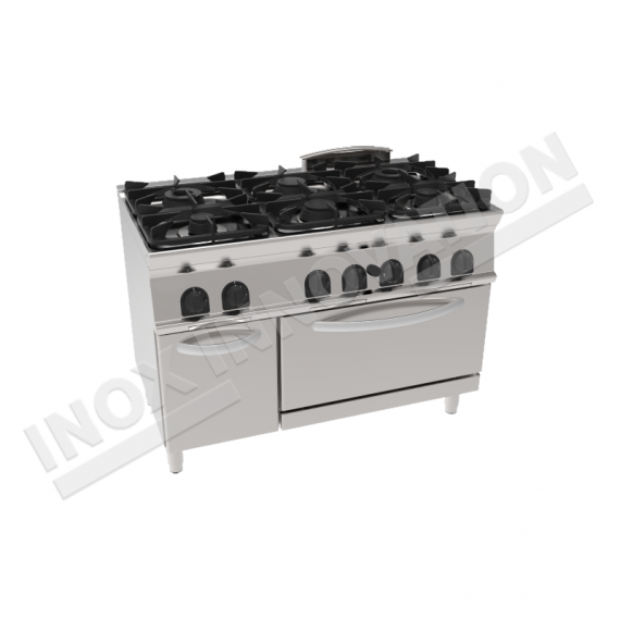 Cucina 6 fuochi con forno elettrico ventilato 1050x700 for Cucina 6 fuochi con forno