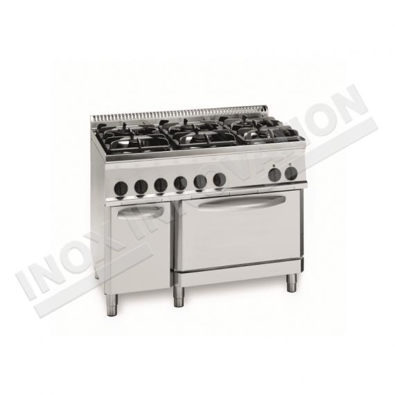 Cucina 6 fuochi con forno gas 1050x700 linea 700 compact inoxinnovation - Cucina 6 fuochi ...