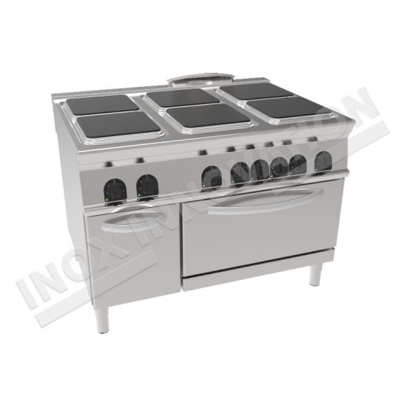 Cucina elettrica 6 piastre quadrate con forno elettrico 1050x700 linea 700 compact - Cucina con piastra elettrica ...