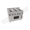 Cucina elettrica 6 piastre rotonde con forno elettrico ventilato 1050×600 linea 600