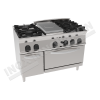 Cucina a gas 4 fuochi con piastra riscaldante e forno a gas 1200×700 linea 700 Prestige