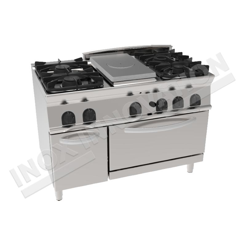 Cucina A Gas 4 Fuochi Con Piastra Riscaldante E Forno A Gas 1200x700 Linea 700 Prestige Inoxinnovation Inoxinnovation Com