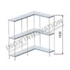 Scaffale angolo destro 2 + 1 moduli 3 ripiani – H 1430
