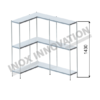 Scaffale angolo sinistro 2 + 1 moduli 3 ripiani – H 1430