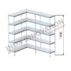 Scaffale angolo sinistro 2 + 1 moduli 5 ripiani – H 1430